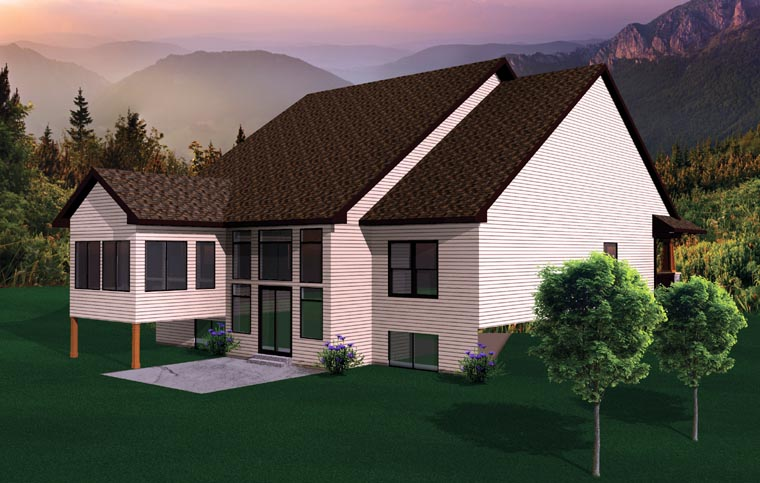 Ranch , Craftsman House Plan 73495 with 3 Beds, 3 Baths, 2 Car Garage Rear Elevation