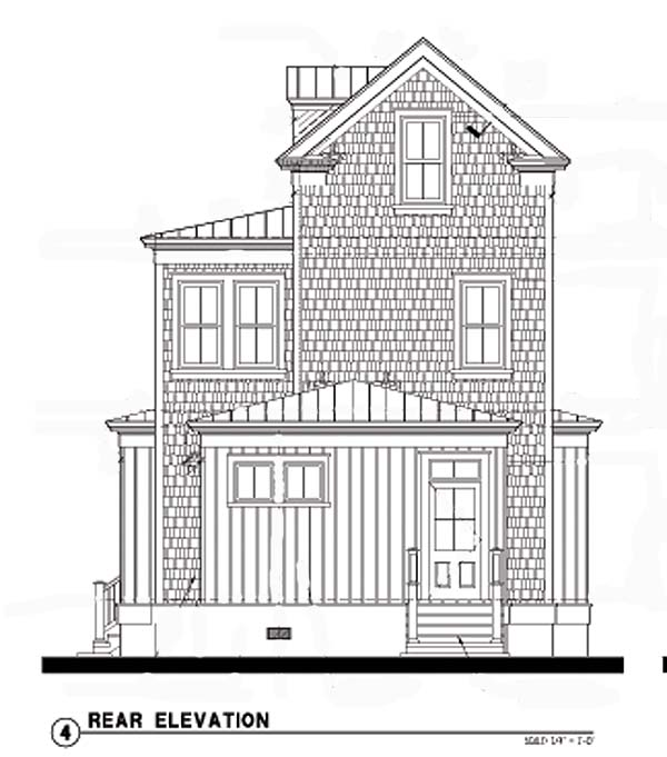 Historic House Plan 73700 Rear Elevation