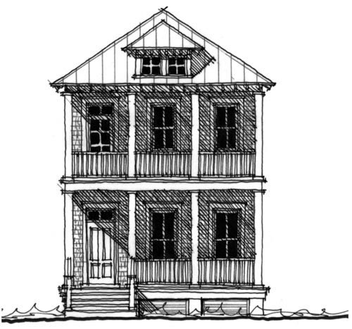 Historic House Plan 73701 Elevation