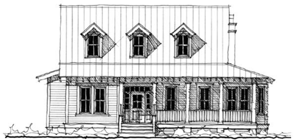 Historic Southern Elevation of Plan 73705