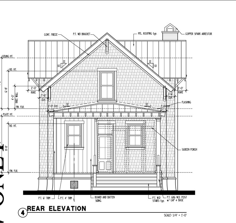 Historic , Southern , Rear Elevation of Plan 73708