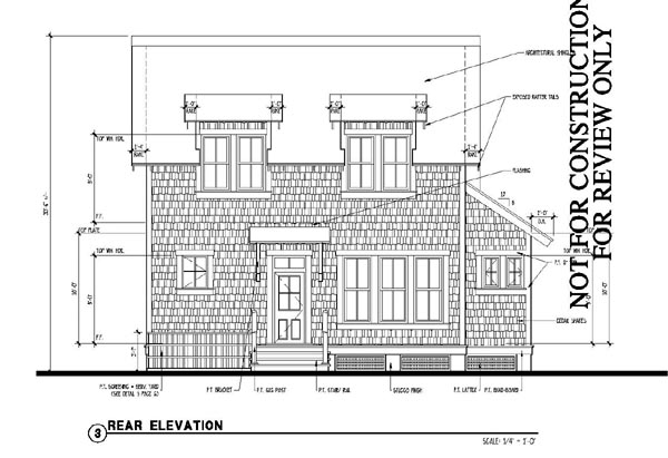 Historic Southern Rear Elevation of Plan 73715