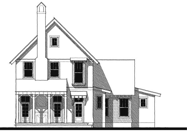 Cottage Craftsman Historic Elevation of Plan 73729