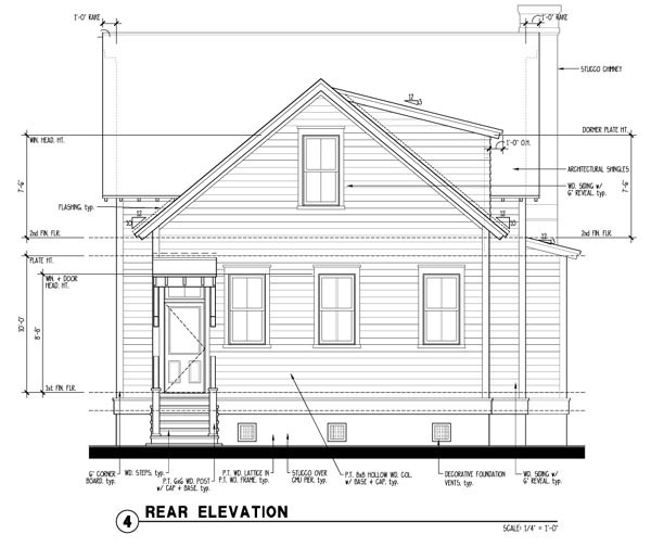 Historic Southern House Plan 73733 Rear Elevation