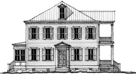 Southern , Historic House Plan 73745 with 3 Beds, 4 Baths Elevation