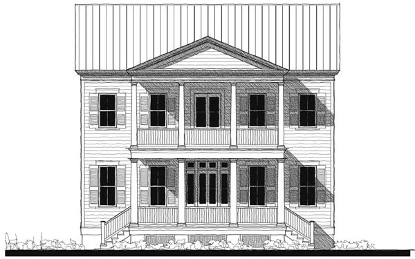 Historic Southern Elevation of Plan 73746