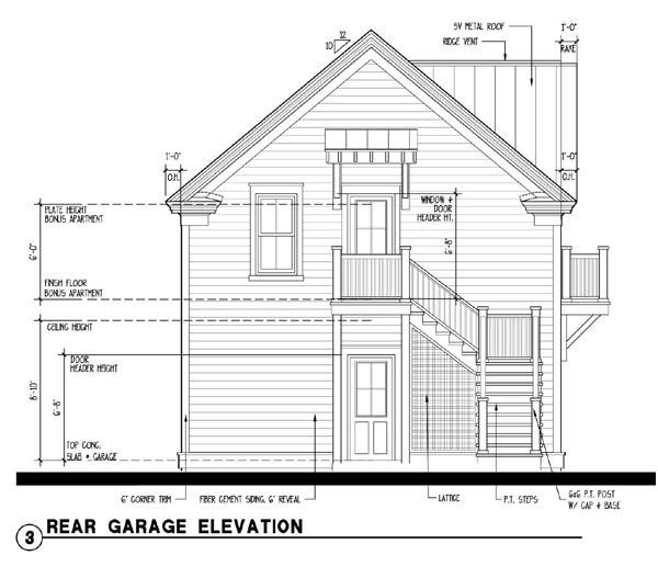 Historic 2 Car Garage Apartment Plan 73752 with 1 Beds, 1 Baths Rear Elevation
