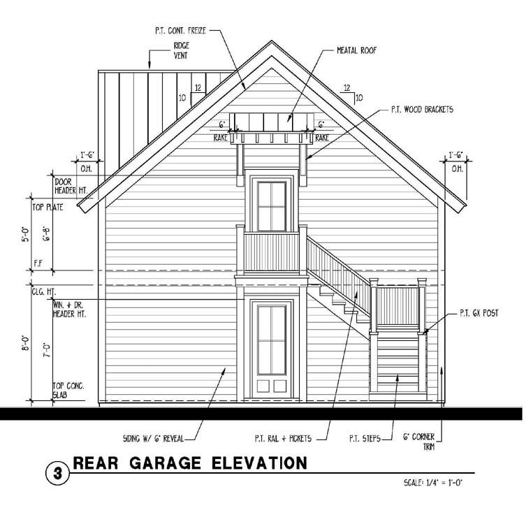 Historic Garage Plan 73760 Rear Elevation