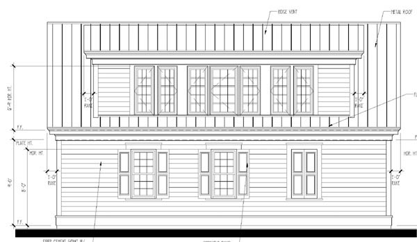 Historic Garage Plan 73773 Rear Elevation