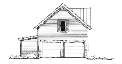 Garage Plan 73774 | Historic Style Plan with 624 Sq Ft, 1 Bedrooms, 1 Bathrooms, 2 Car Garage Elevation
