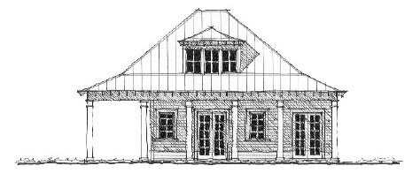 Historic House Plan 73784 with 1 Beds, 2 Baths Elevation