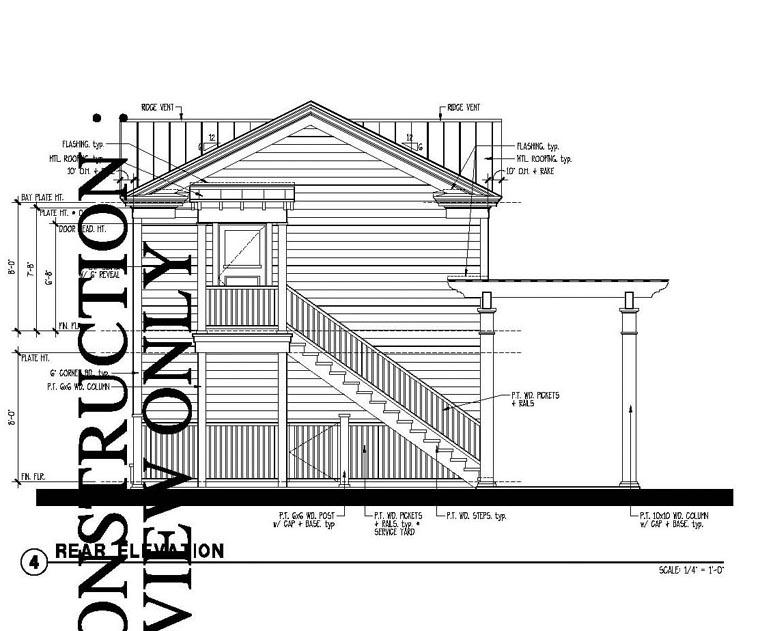 Historic Garage Plan 73785 Rear Elevation