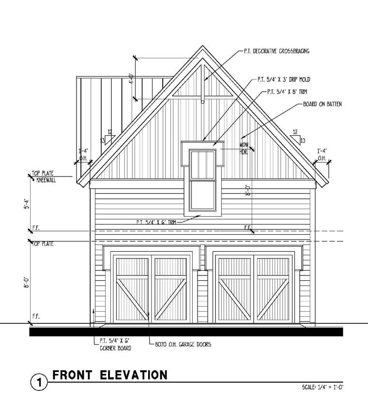 Historic Garage Plan 73794 Rear Elevation