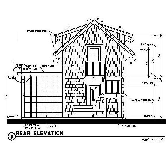 Historic Garage Plan 73803 Rear Elevation