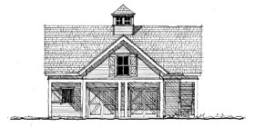 Garage Plan 73823 | Historic Style Plan with 875 Sq Ft, 1 Bedrooms, 1 Bathrooms, 2 Car Garage Elevation