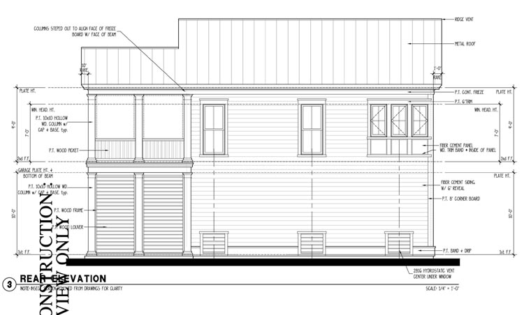 Colonial , Historic , Traditional , Rear Elevation of Plan 73827