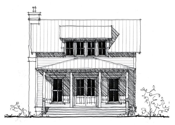 Country, Historic House Plan 73834 with 1 Beds, 2 Baths Elevation