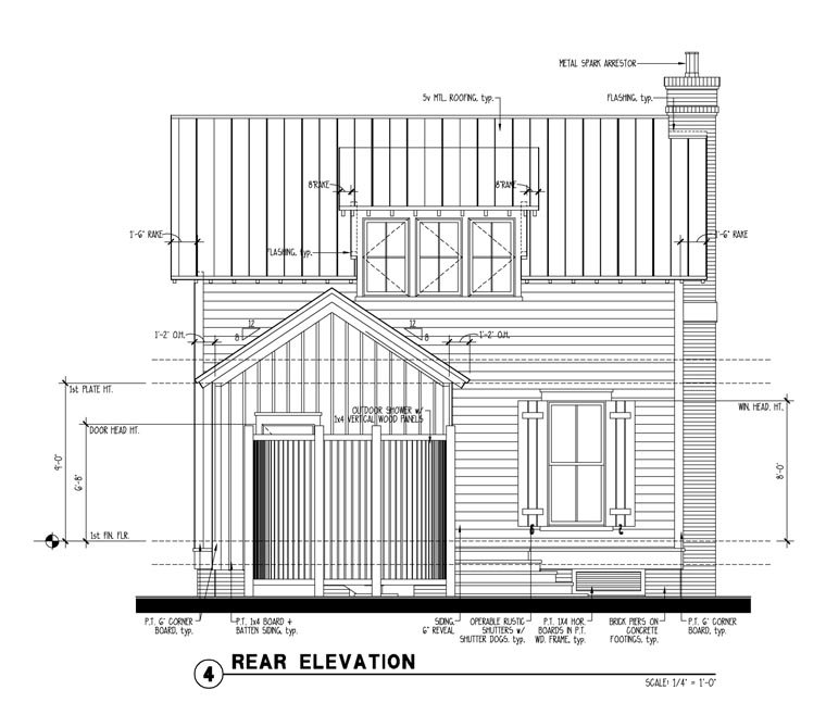 Country, Historic House Plan 73834 with 1 Beds, 2 Baths Rear Elevation