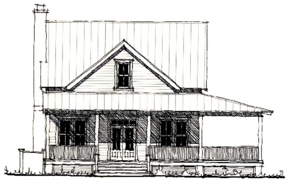 Country Historic Elevation of Plan 73838