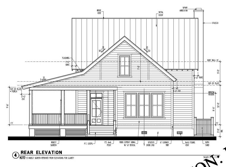 Country Historic Rear Elevation of Plan 73838
