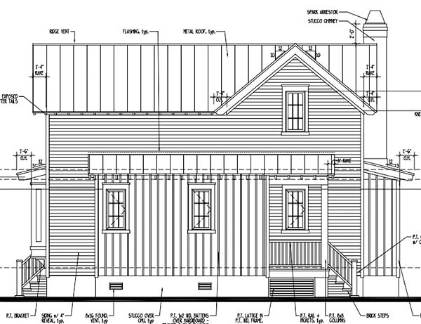 Country, Historic House Plan 73850 with 2 Beds, 3 Baths Rear Elevation