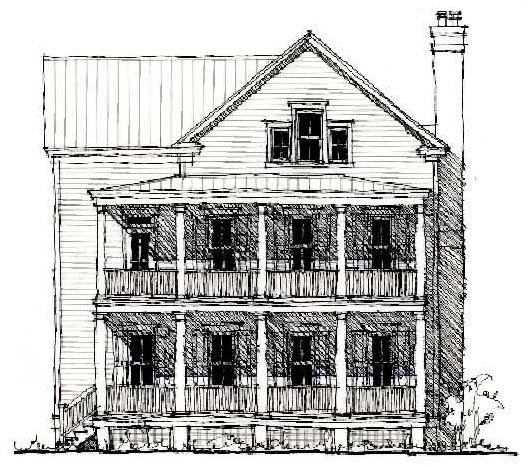 Country Historic Elevation of Plan 73857