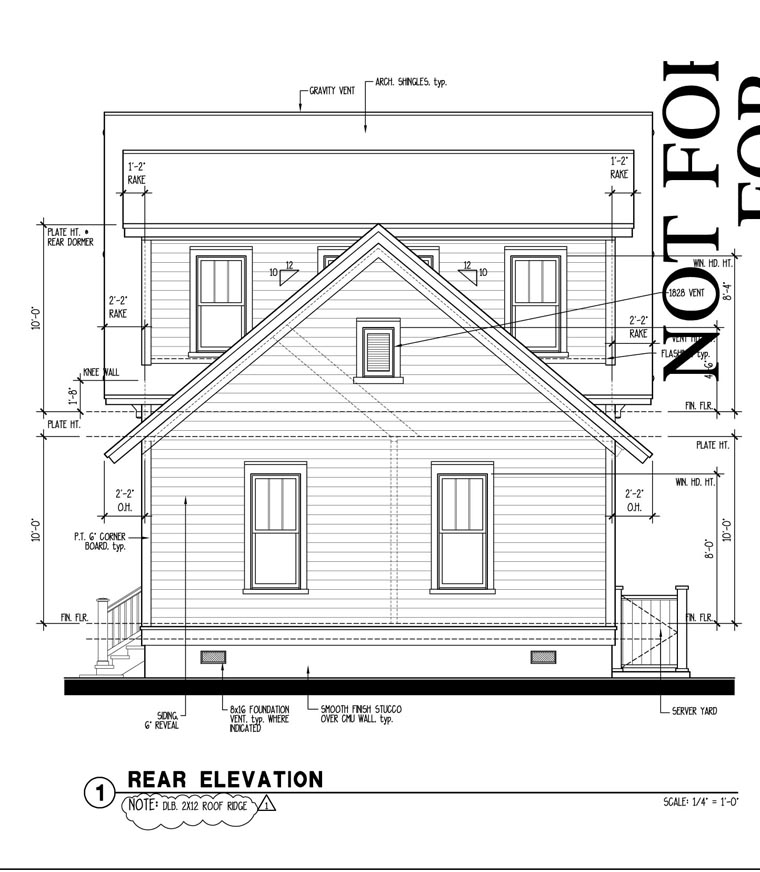 Country Historic Rear Elevation of Plan 73860
