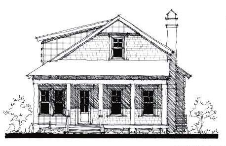 Country Historic Elevation of Plan 73870