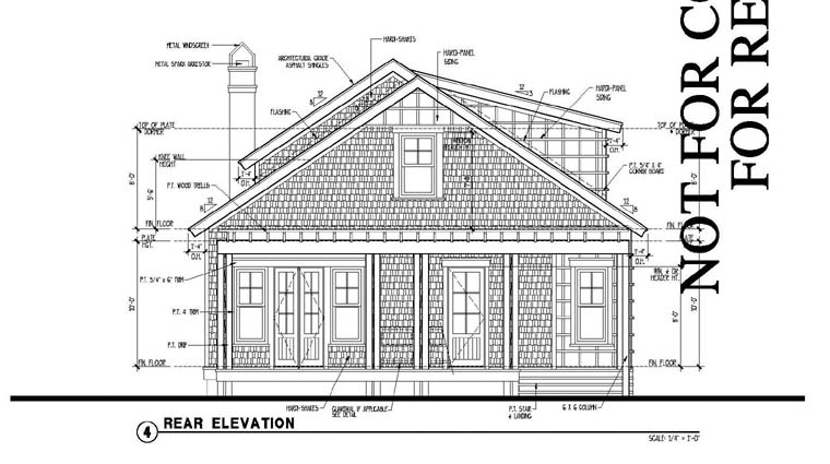 Country Historic Rear Elevation of Plan 73870