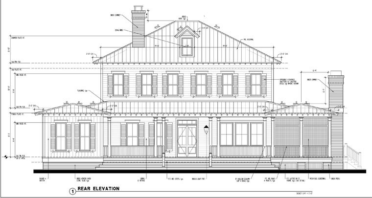 House Plan 73877 | Country Historic Style Plan with 3814 Sq Ft, 5 Bedrooms, 5 Bathrooms Rear Elevation