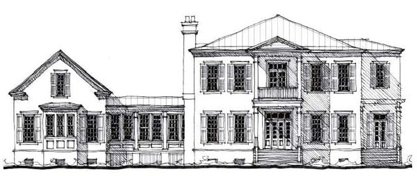 Country Historic Elevation of Plan 73879