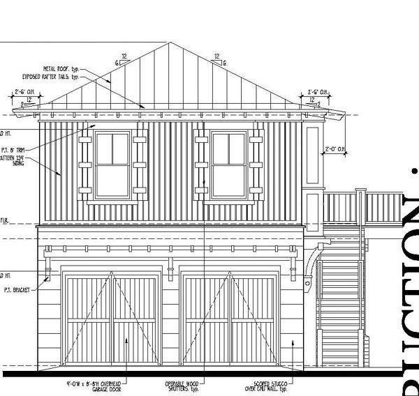 Country , Historic , Rear Elevation of Plan 73881