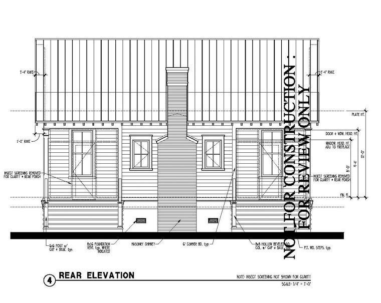 Historic , Country House Plan 73887 with 2 Beds, 2 Baths Rear Elevation