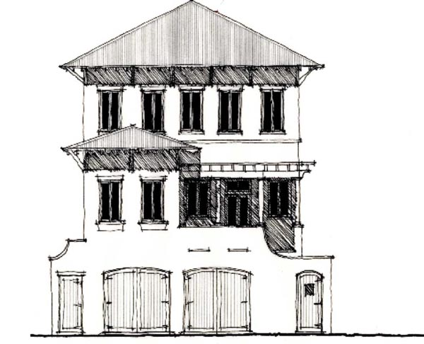 Country Historic Elevation of Plan 73892