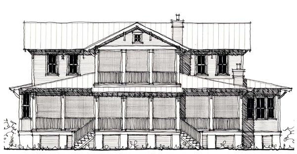 Country Historic Elevation of Plan 73897