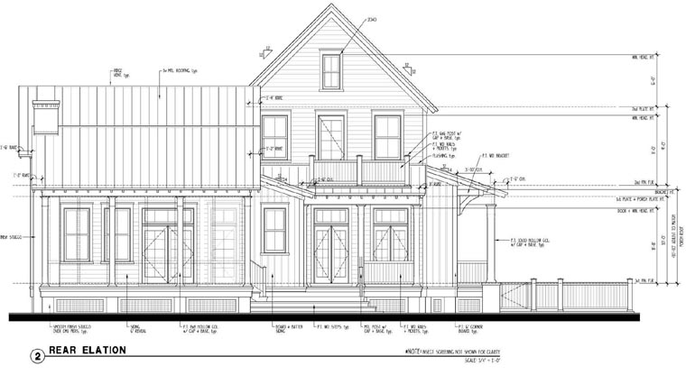 Historic , Country House Plan 73901 with 3 Beds, 3 Baths Rear Elevation