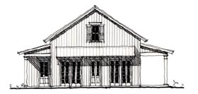 House Plan 73919 | Country Historic Style Plan with 824 Sq Ft, 2 Bedrooms, 2 Bathrooms Elevation