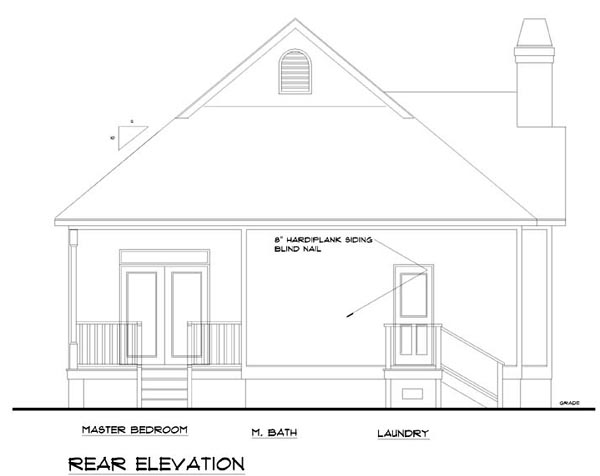 Traditional House Plan 74002 with 3 Beds, 2 Baths Rear Elevation