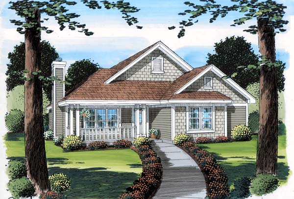 Bungalow , Craftsman , Ranch , Elevation of Plan 74009