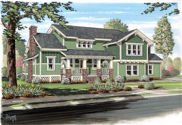 Bungalow, Cottage, Craftsman, Traditional House Plan 74012 with 4 Beds, 4 Baths, 2 Car Garage Elevation