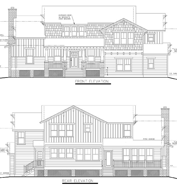 Bungalow, Cottage, Craftsman, Traditional House Plan 74012 with 4 Beds, 4 Baths, 2 Car Garage Rear Elevation