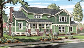 Cottage , Craftsman House Plan 74013 with 3 Beds, 3 Baths, 2 Car Garage Elevation
