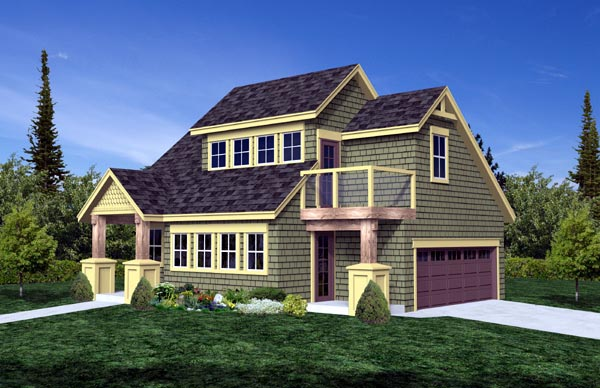 Craftsman 2 Car Garage Plan 74015 Elevation