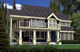 Traditional , Craftsman , Contemporary House Plan 74016 with 2 Beds, 2 Baths Elevation