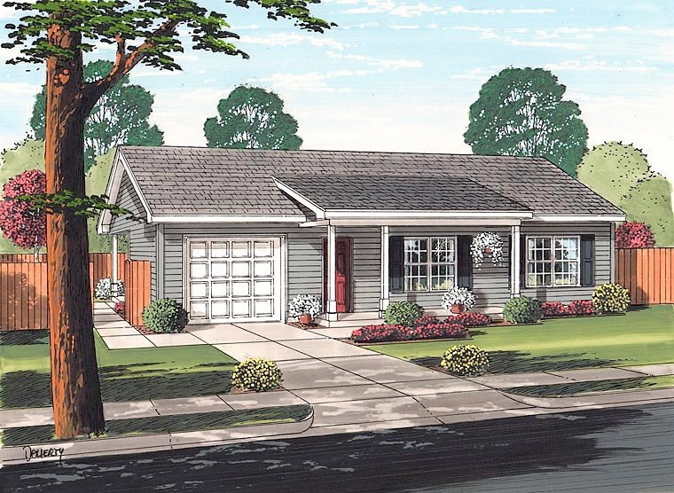 Cottage , Ranch , Traditional House Plan 74017 with 2 Beds, 1 Baths, 1 Car Garage Elevation