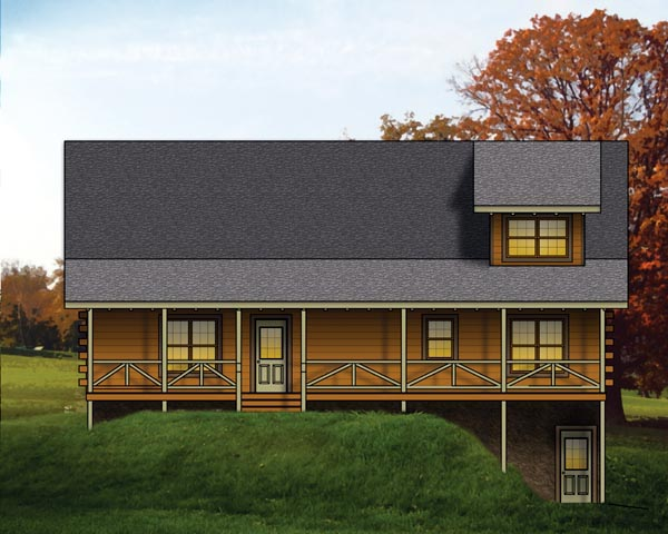 Log House Plan 74100 Elevation