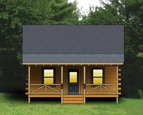 Log House Plan 74102 with 2 Beds, 1 Baths Elevation