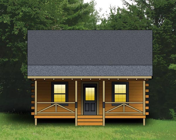 Log House Plan 74105 Elevation