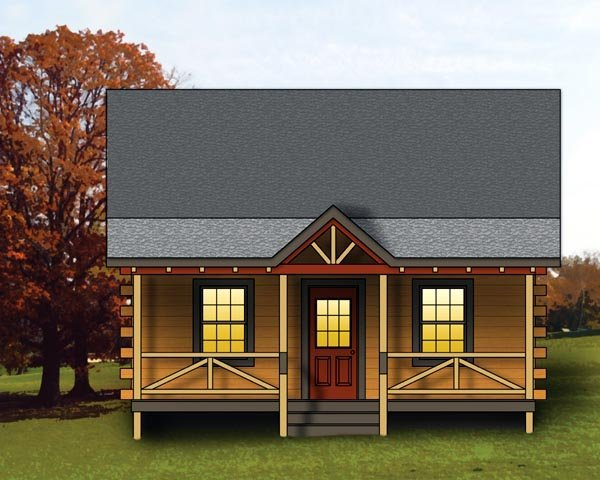 Log House Plan 74109 Elevation