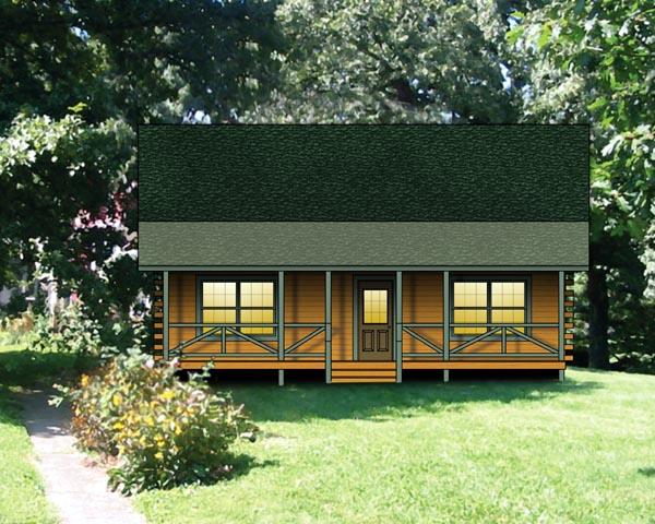 Log House Plan 74112 Elevation